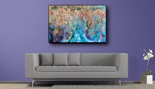colore e materici - Andrea Bellocchio - 120x80 - acrilico su tela con pastelli e vetro frantumato
