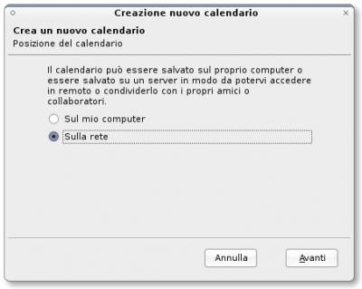 Selezione tipo di calendario