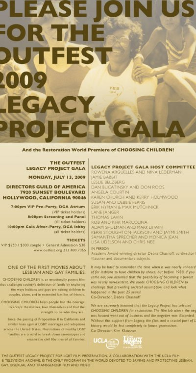 Outfest Legacy Project Gala July 13