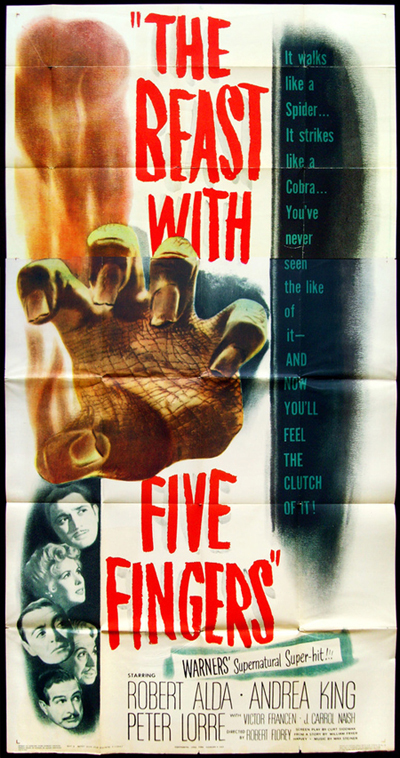 "Photo of original 6-sheet for ""The Beast With Five Fingers."""