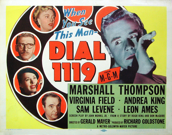 """Photo of an original lobby card for """"Dial 1119."""" MGM, 1950."""