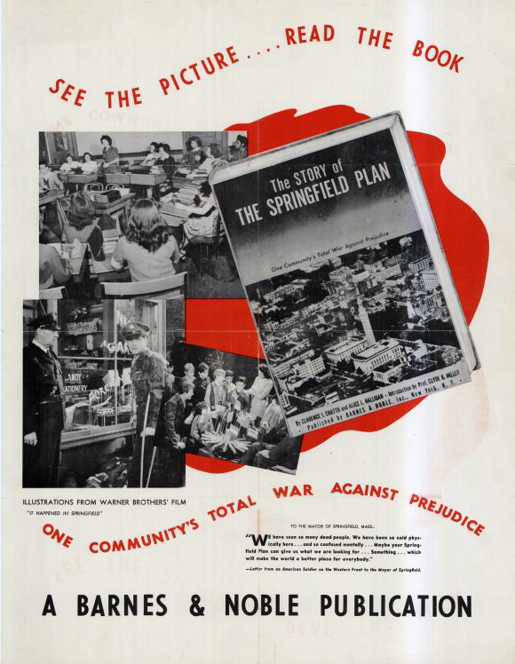 "An advertisement for ""It Happened in Springfield,"" originally titled ""The Springfield Plan."" Warner Bros., 1945."