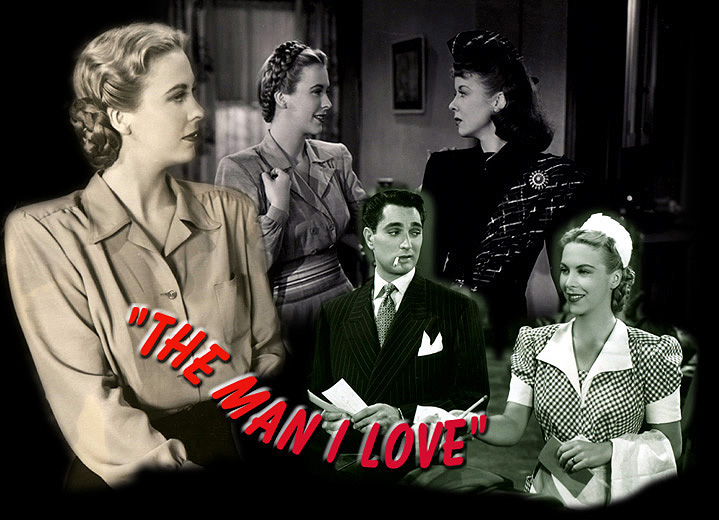 """Photo montage of Andrea King, Robert Alda, and Ida Lupino starring in """"The Man I Love."""" Warner Bros., 1947."""