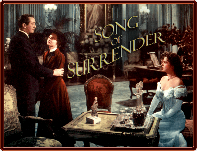 """Photo of Macdonald Carey, Wanda Hendrix, and Andrea King as Phyllis Cantwell starring in Mitchell Leisen's lavish production """"Song of Surrender"""" (Paramount, 1949)."""