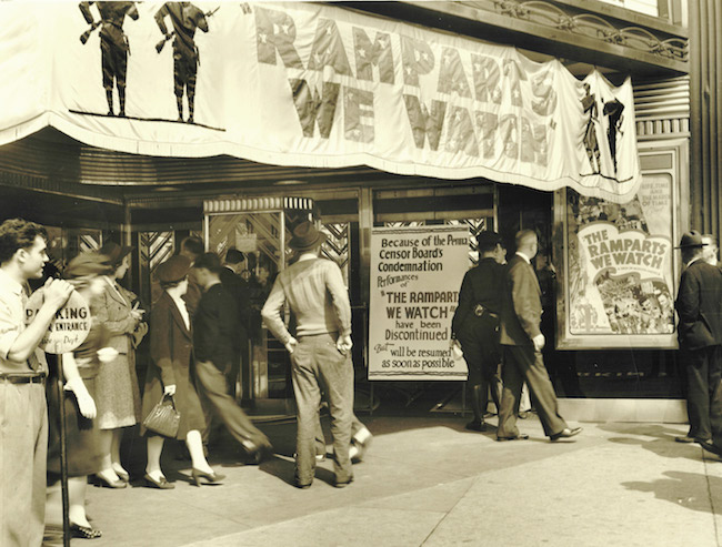 "Patrons at a theatre running ""The Ramparts We Watch,"" RKO, 1940, discover that the film has been temporarily banned."