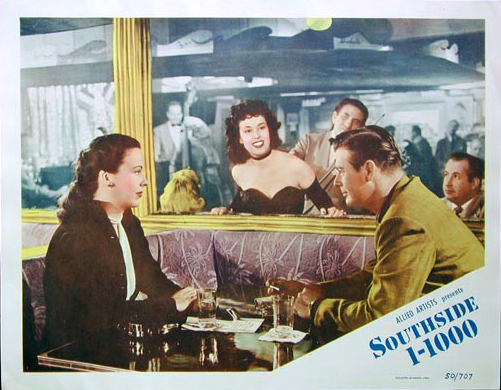 "Original lobby card of Andrea King and Don DeFore in ""Southside 1-1000,"" 1950."