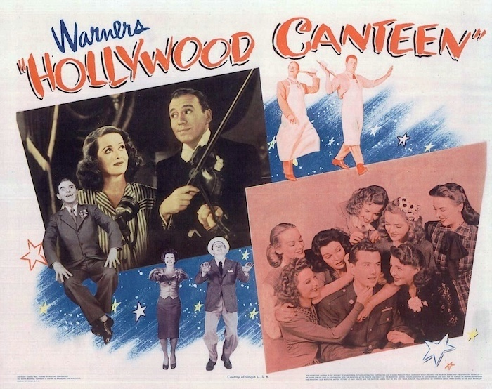 "Lobby card from ""Hollywood Canteen,"" Warner Bros., 1944. Andrea King is pictured at the far right."