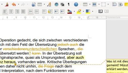 Beispiel Lektorat in der Textdatei