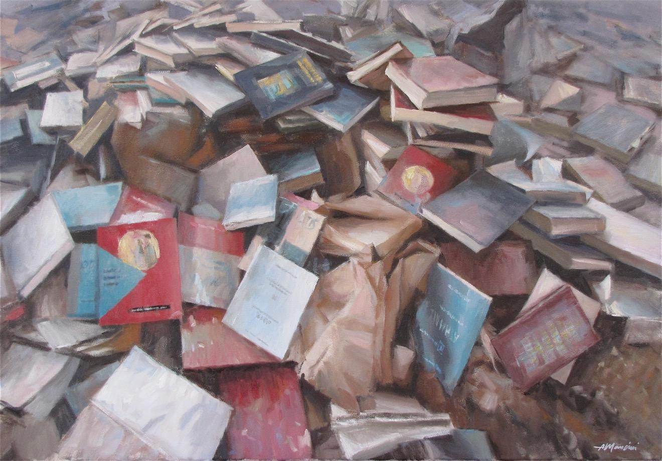 1351, Montagna di libri, 2011, olio su tela 70x100