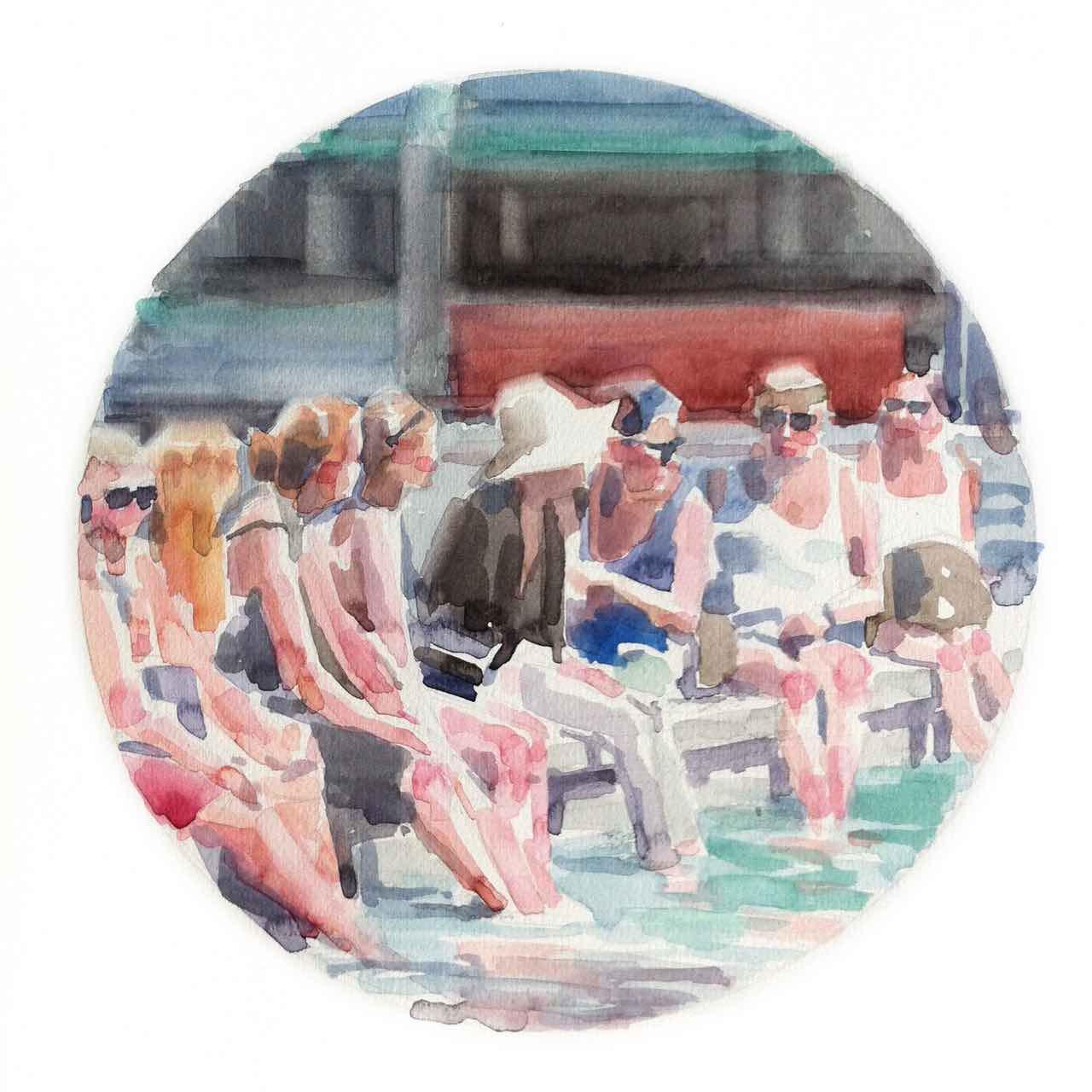 Bagnanti in città watercolor