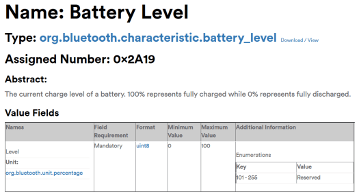 Bluetooth Characteristic - Battery Level