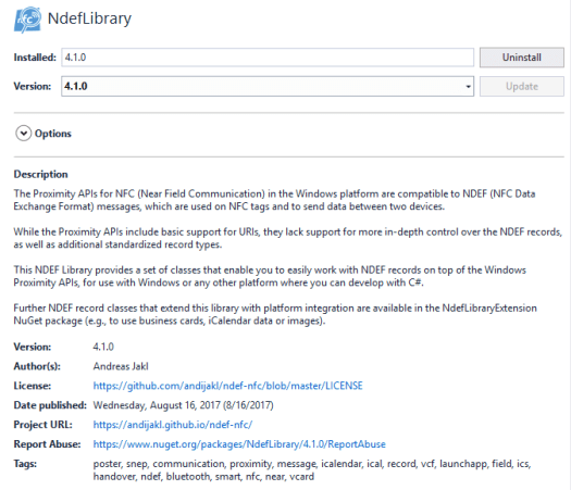 How Libraries are shown within the NuGet Package Manager of Visual Studio