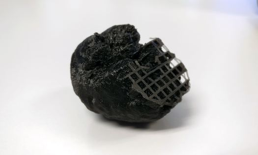 Result of 3D printing a brain segmented from MRI, with supporting material partly removed