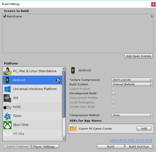Unity Build Settings for Android