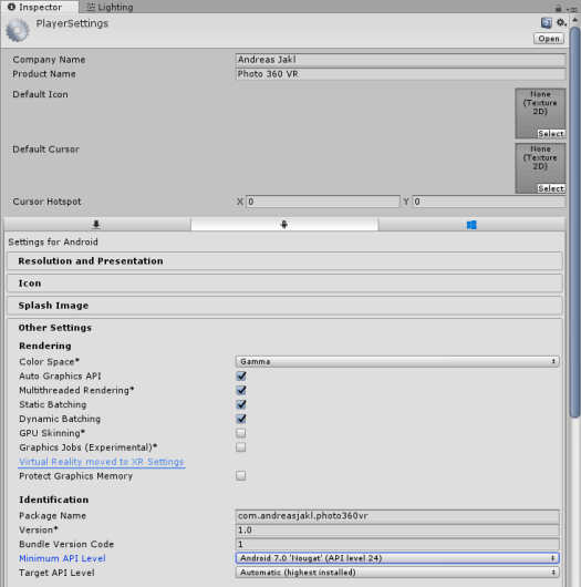 Unity: Player Settings for Android