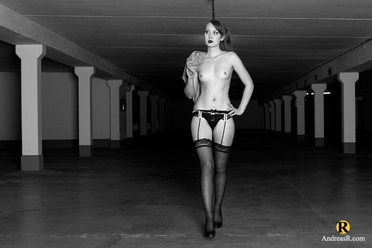 Bonnie Bonkers: parking garage. trenchcoat.