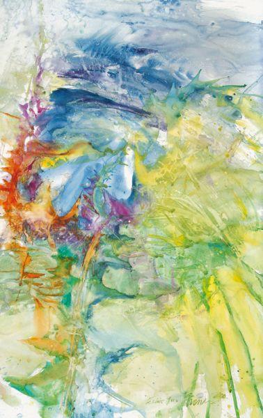 """seasonal aggregates III, """"éclair floral"""", 2010, aquaBrique auf Canson-papier"""