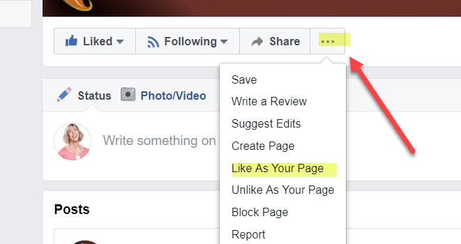 How to Like a Facebook Page as your Page