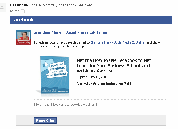 Facebook Offers e-mail