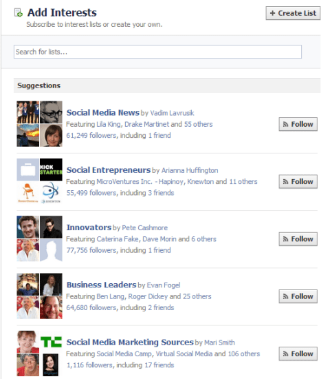 Find Facebook Interest Lists