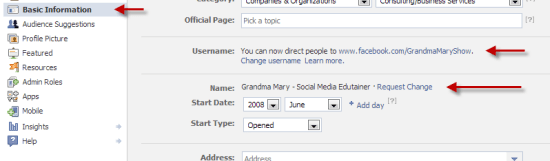 Request Facebook Page Name Change