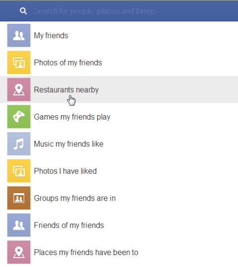 Facebook Graph Search categories