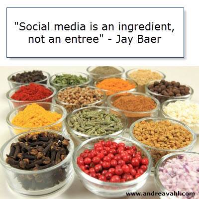 """""""Social media is an ingredient, not an entree"""" ~ Jay Baer"""