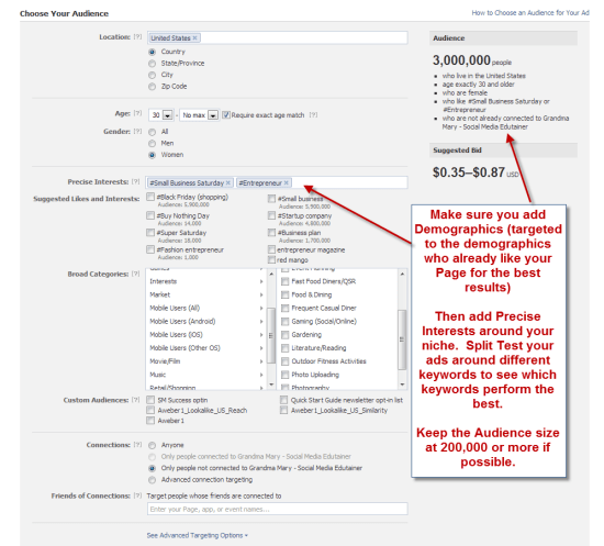 Targeting your Facebook ad