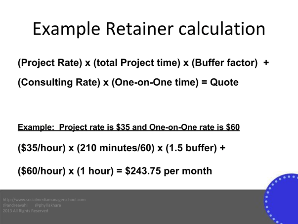 Example Monthly Retainer Calculation