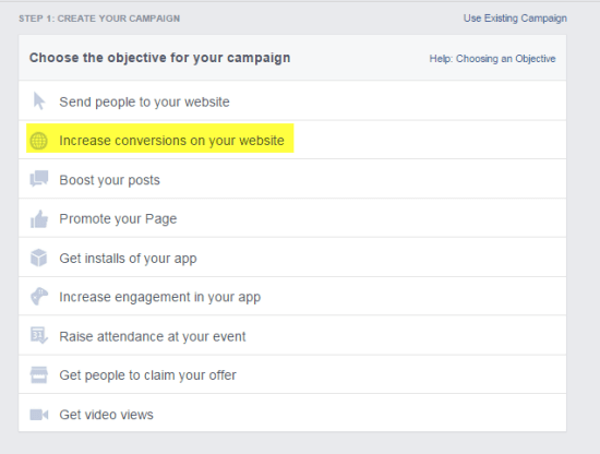 Facebook ad to get leads - website conversions