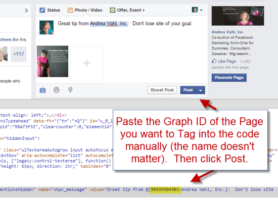 Force the Facebook Page Tag