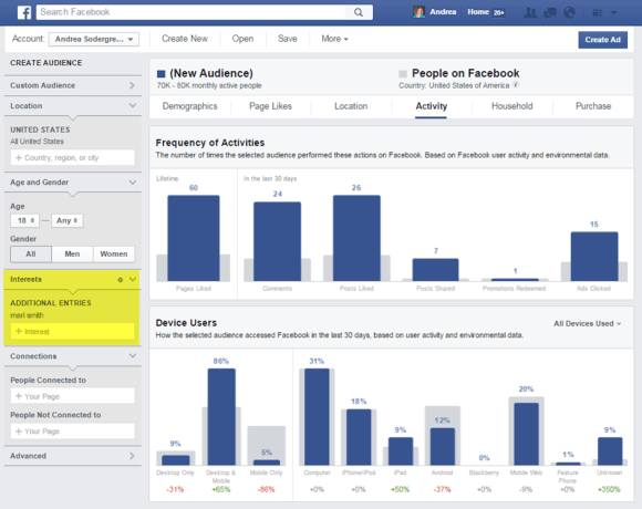 Facebook Audience Insights search
