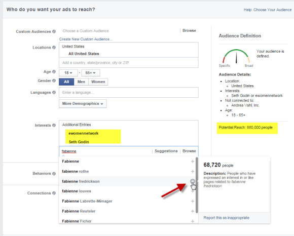 Use terms in Facebook Ads