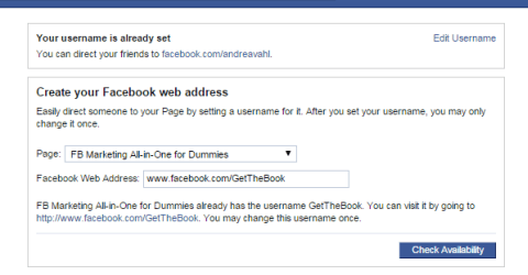 Change Facebook Page Username