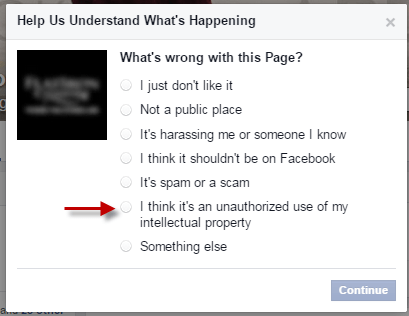 Report a Facebook page