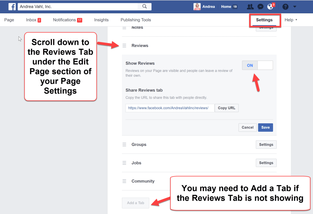 Enable Facebook Reviews on Your Page