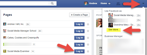 Log in as your Facebook Page