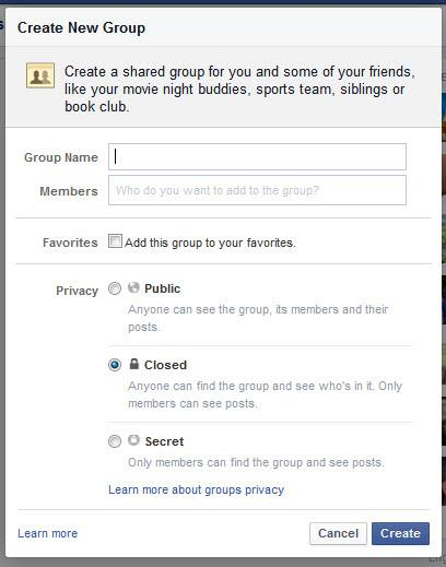 Groups can be set to Public, Closed, or Secret.