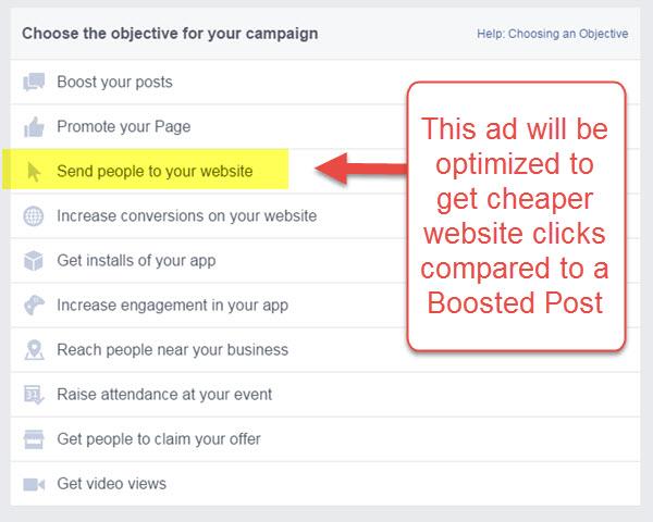 Facebook Website Click ad