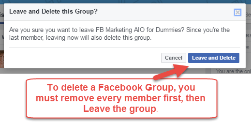 Delete a Facebook Group