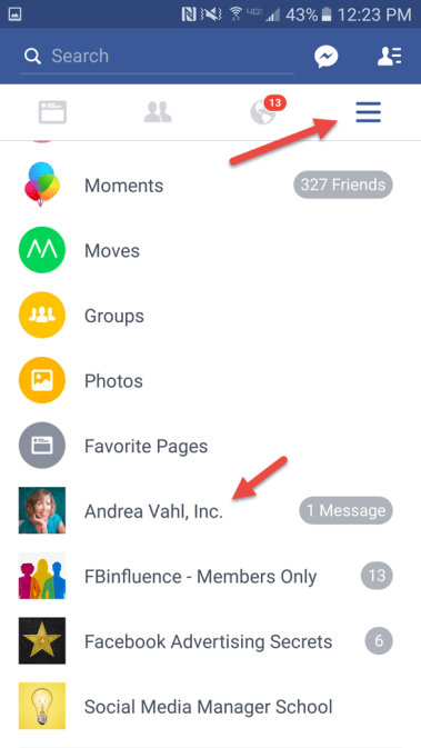Navigate to Facebook Page on Mobile phone