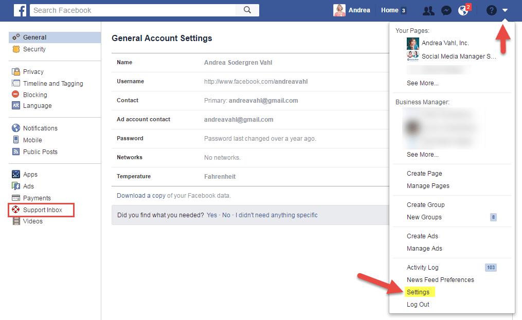 Buzón de entrada de asistencia de Facebook