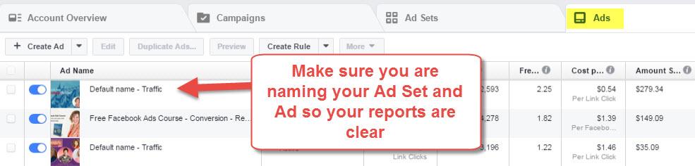 Facebook Ad naming
