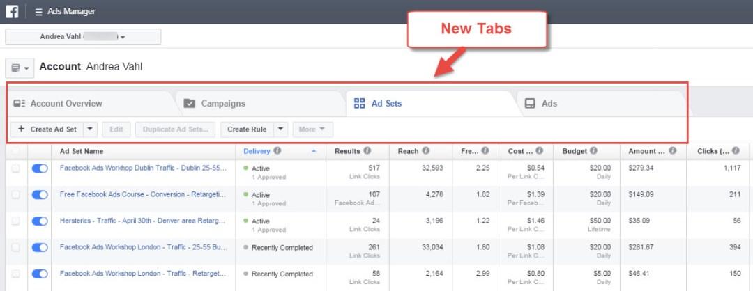 Facebook Ads Changes Tabs