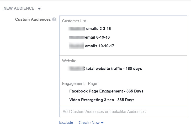 Combine Facebook Custom Audiences