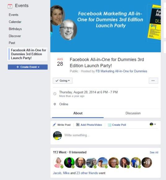Book Launch Facebook Event