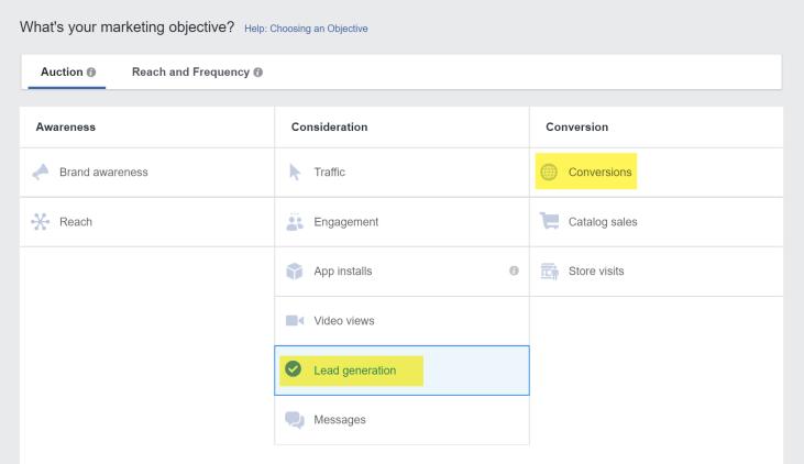 Facebook广告目标潜在客户产生与转换