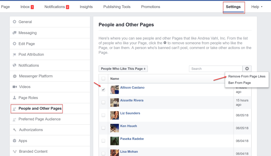 How to remove fake fans from page likes