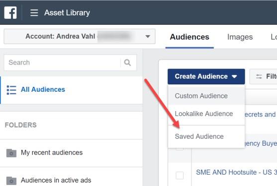 Create Saved Facebook Audiences