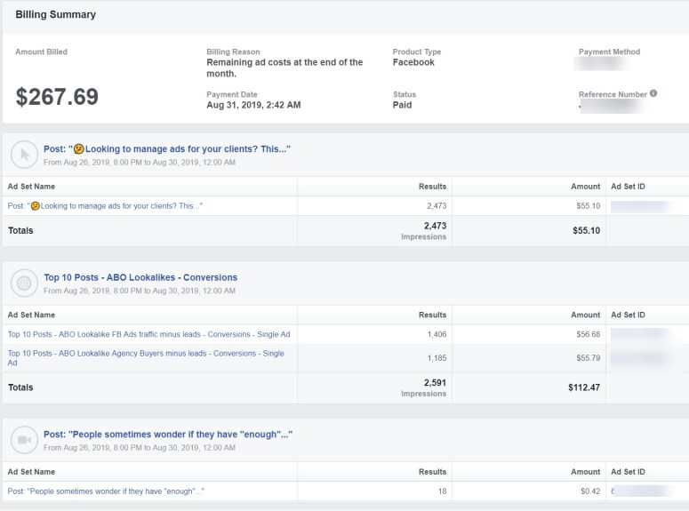 Facebook Ads billing